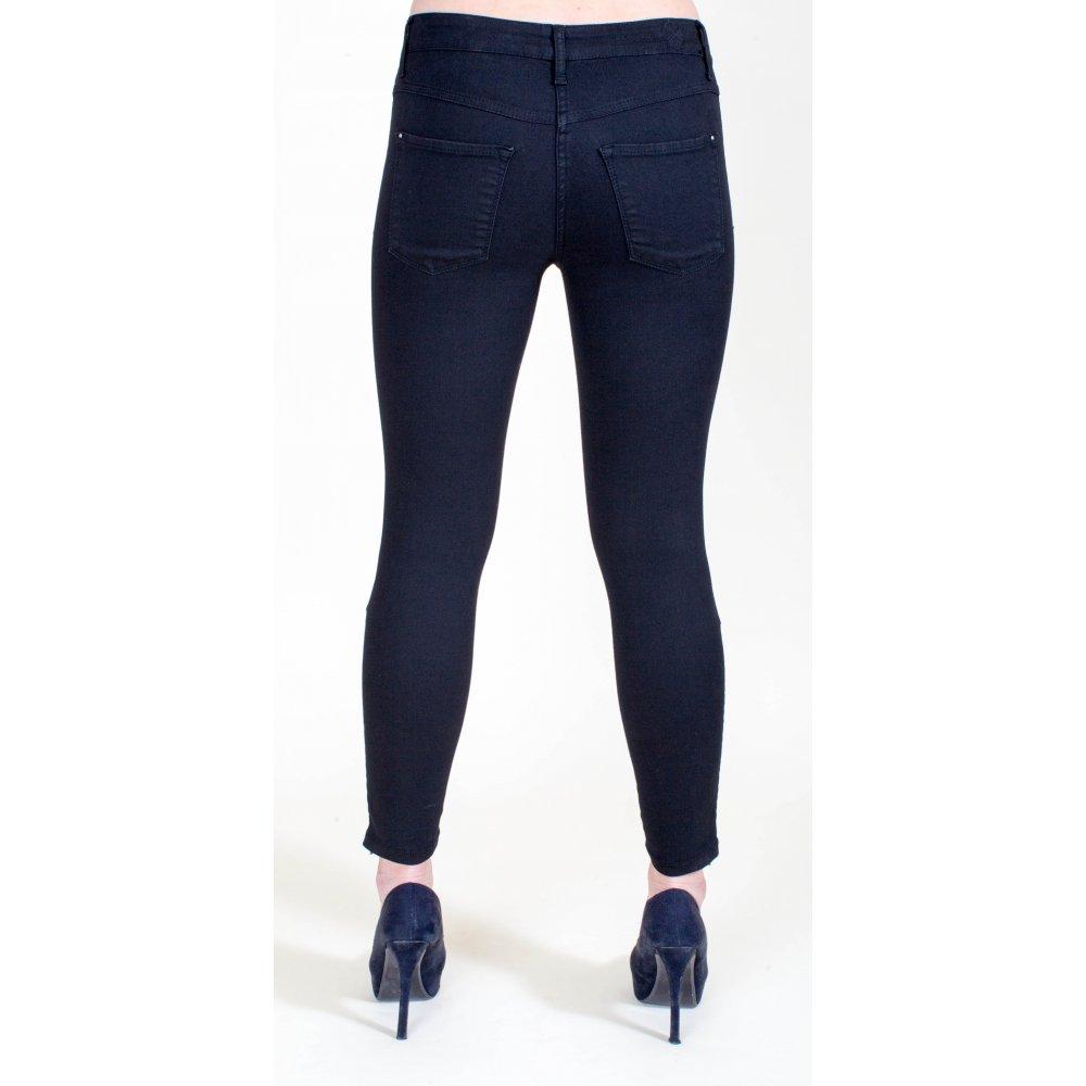 mac 39 dream skinny zip 39 cropped skinny black jean with zip. Black Bedroom Furniture Sets. Home Design Ideas