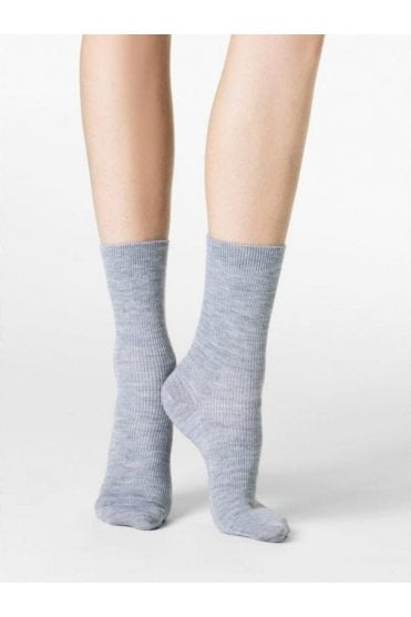 Nepal Wool, Silk & Cashmere Ribbed Ankle Socks