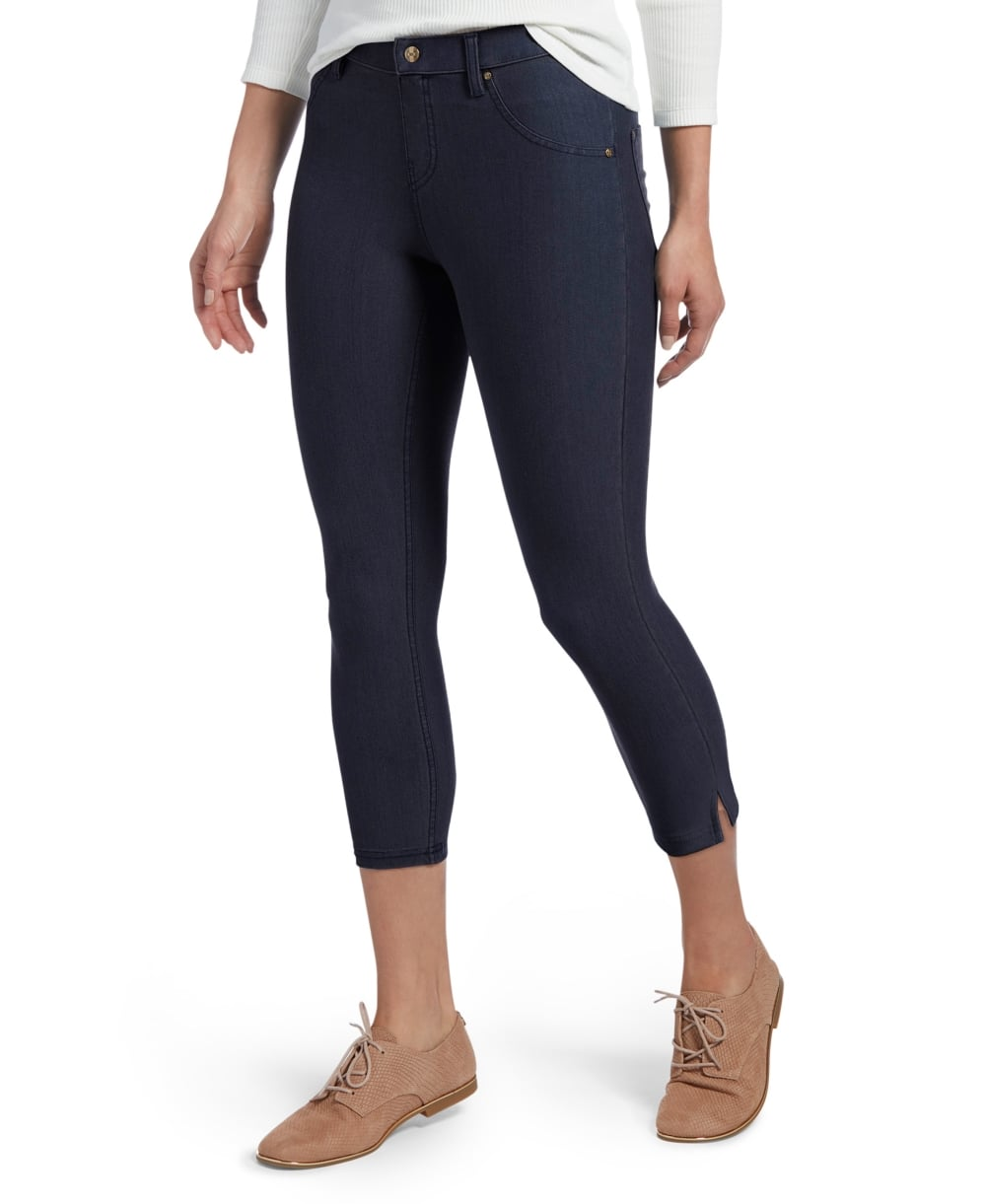 33dfe3e52d8367 HUE Ankle Slit Essential Denim Capri - Leggings from luxury-legs.com UK