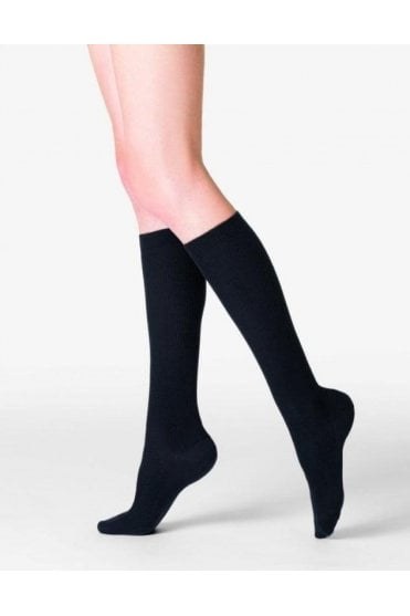Nepal Fine Ribbed Wool, Silk and Cashmere Knee-Highs