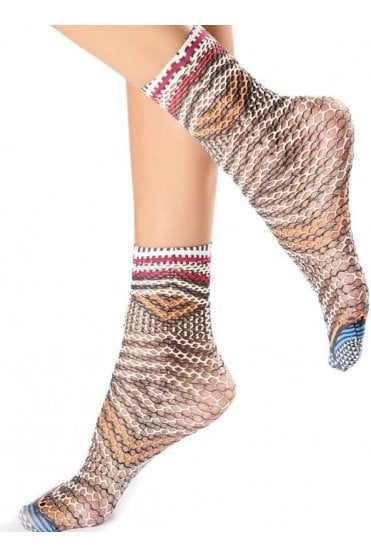 Ethnic Ankle Printed Fishnet