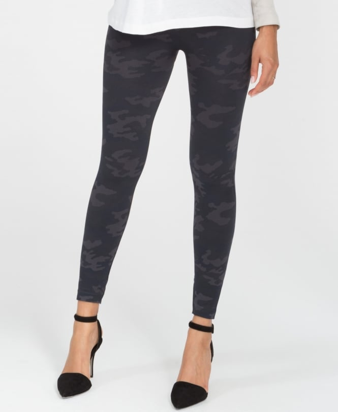 Spanx Look at Me Now Black Camo Seamless Leggings