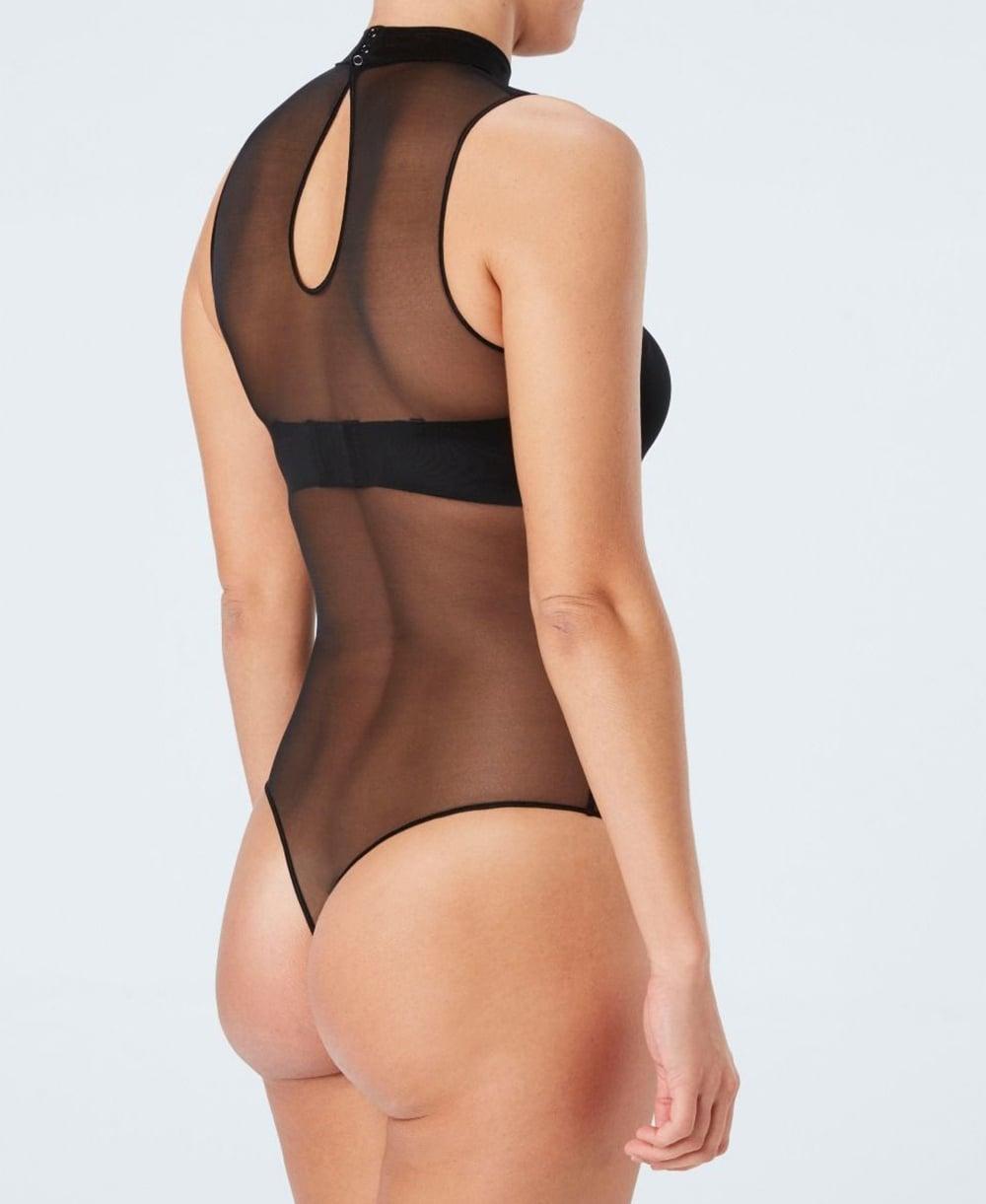 0f64ecea66 Spanx Sheer Fashion Mesh Mock Neck Bodysuit